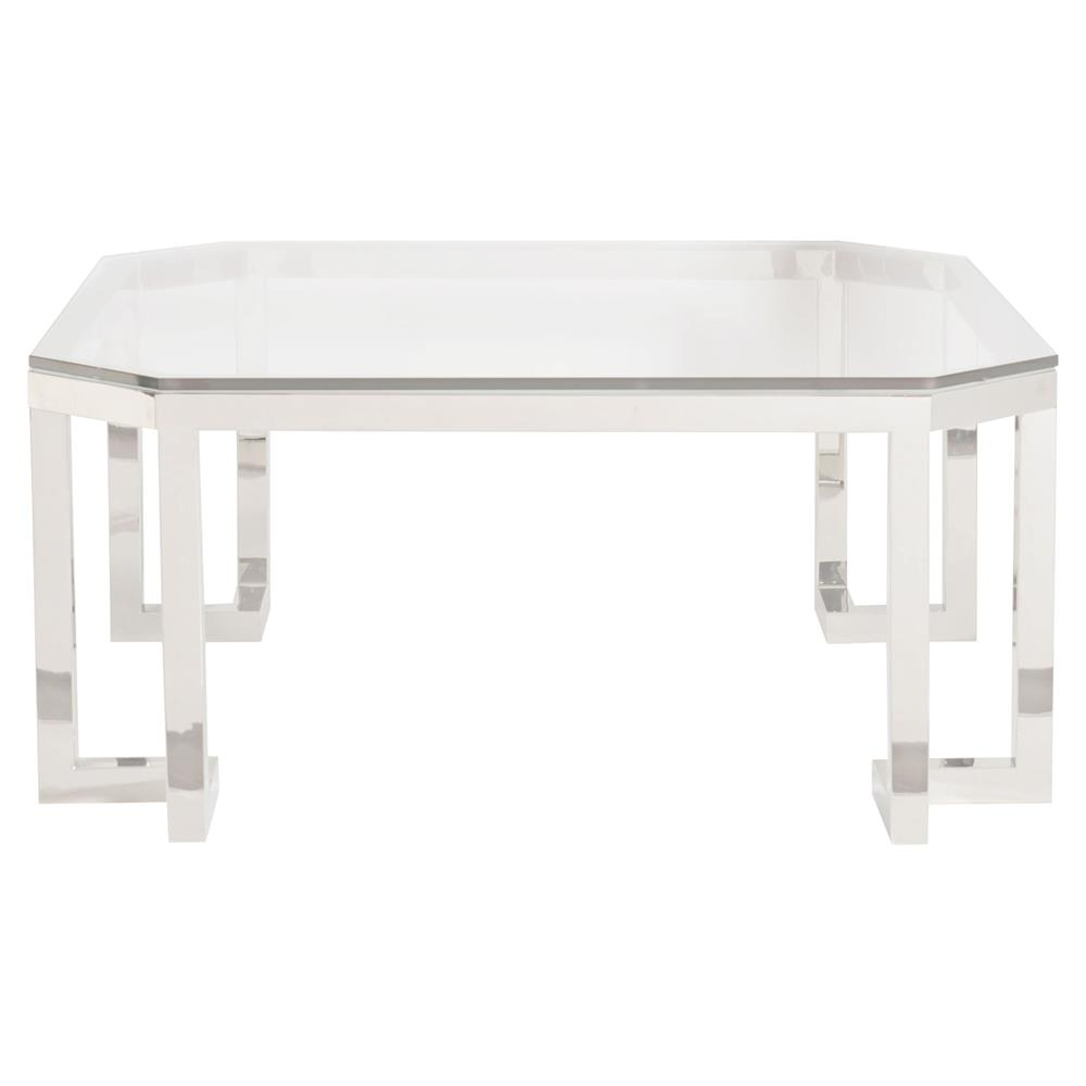 Glass And Silver Square Coffee Table: Remi Modern Classic Square Glass Top Silver Metal Coffee Table