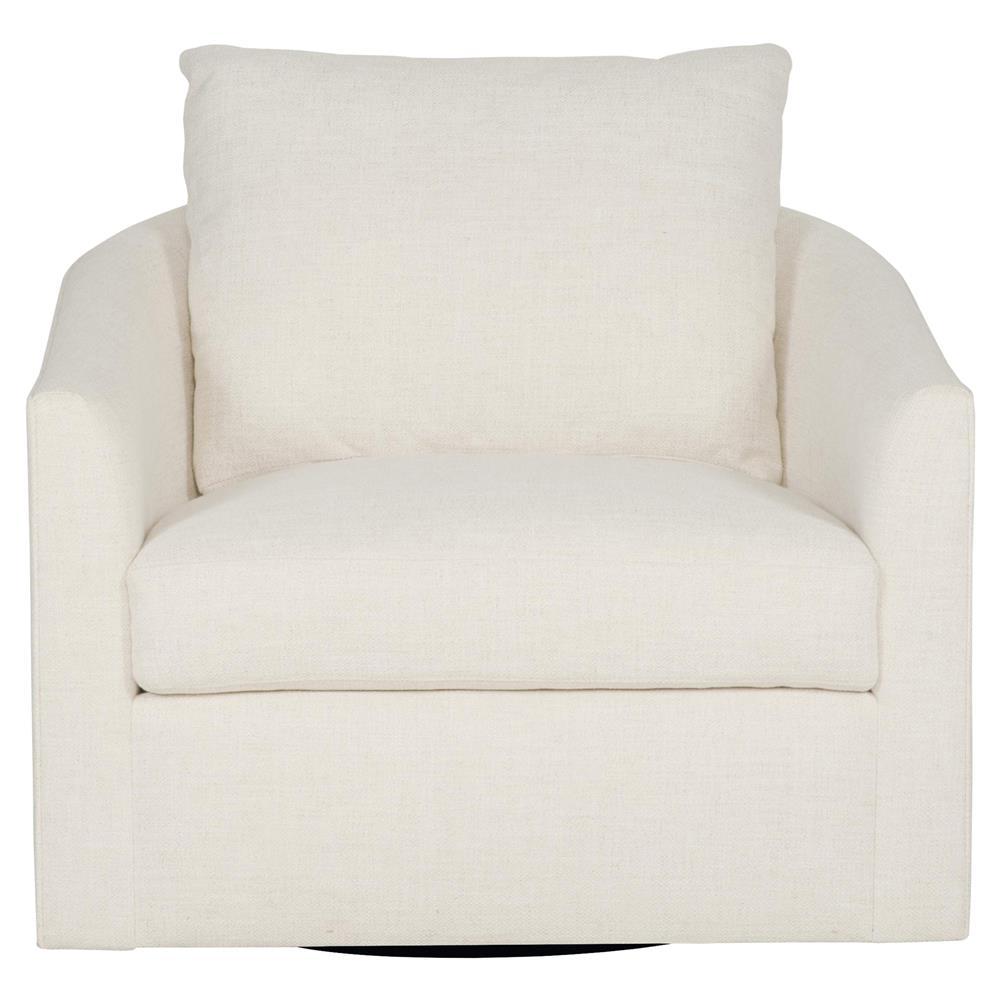 Astrid Modern Classic Ivory Upholstered Swivel Living Room Arm Chair