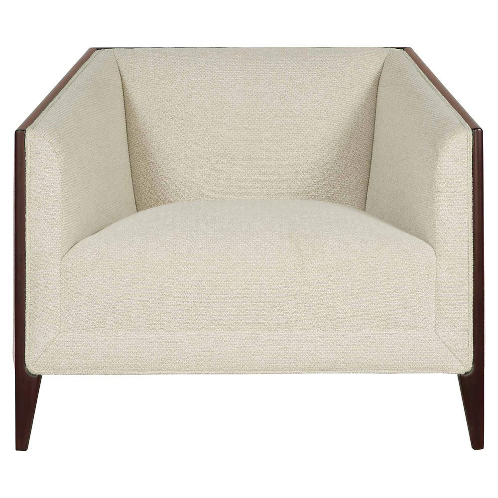 Charlize modern classic ivory upholstered brown wood - Modern upholstered living room chairs ...
