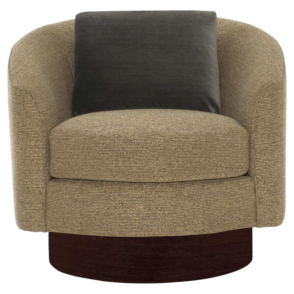 Dulce modern classic brown upholstered dark wood swivel - Modern upholstered living room chairs ...
