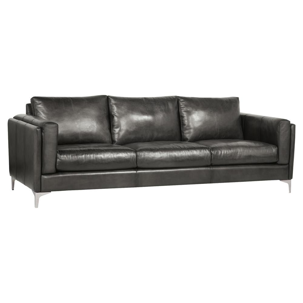 Aislinn Modern Classic Black Leather Upholstered Cushion Back Sofa | Kathy  Kuo Home