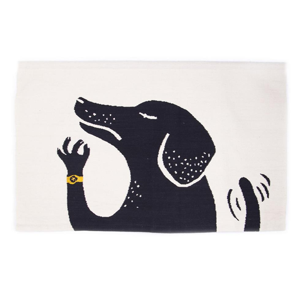 Rug with a Black Dog Graphic