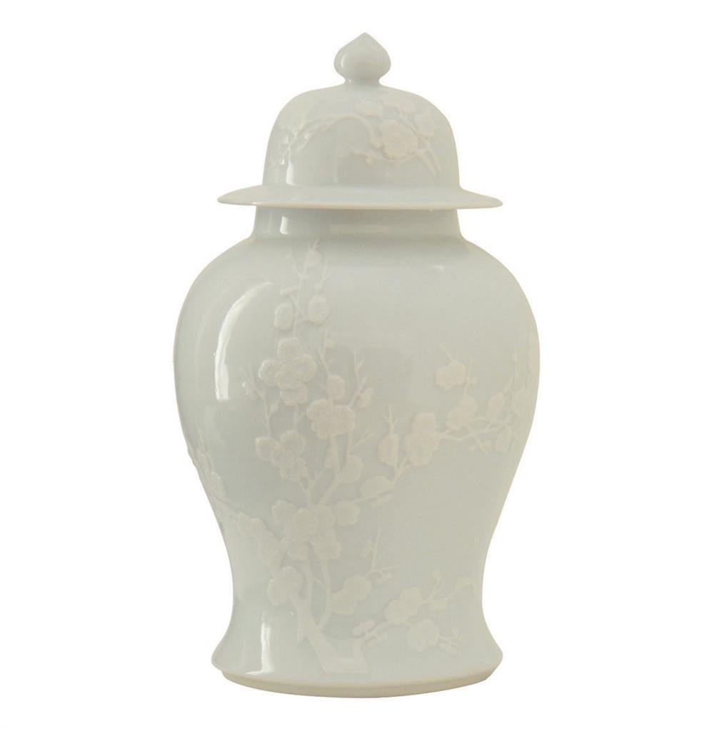 With its grand scale and highly detailed landscape motif, our lidded jar brings distinguished style to the modern home. Made in the Qing Hua Ci tradition, this large vessel is shaped from porcelain and carefully hand painted with a decorative land.