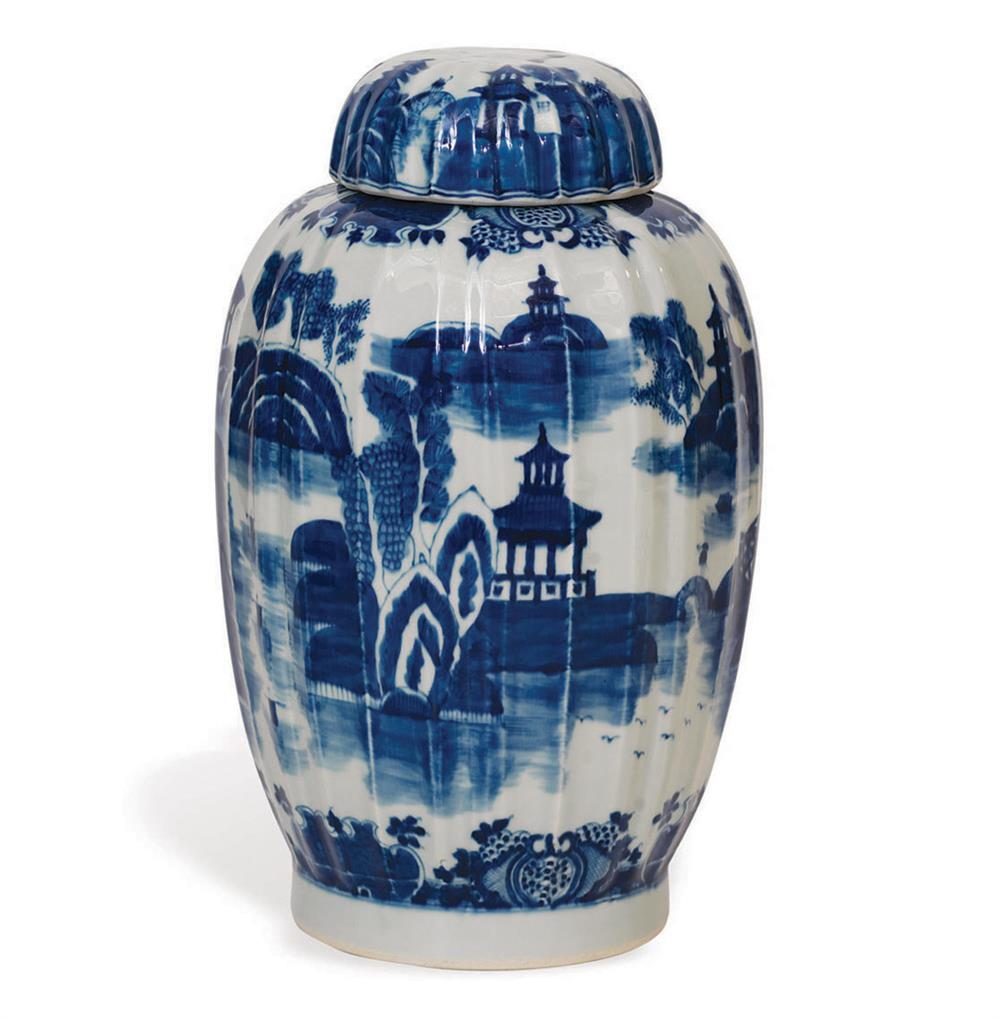 Summer Palace Chinese Hand Painted Blue White Ginger Jar Kathy Kuo Home