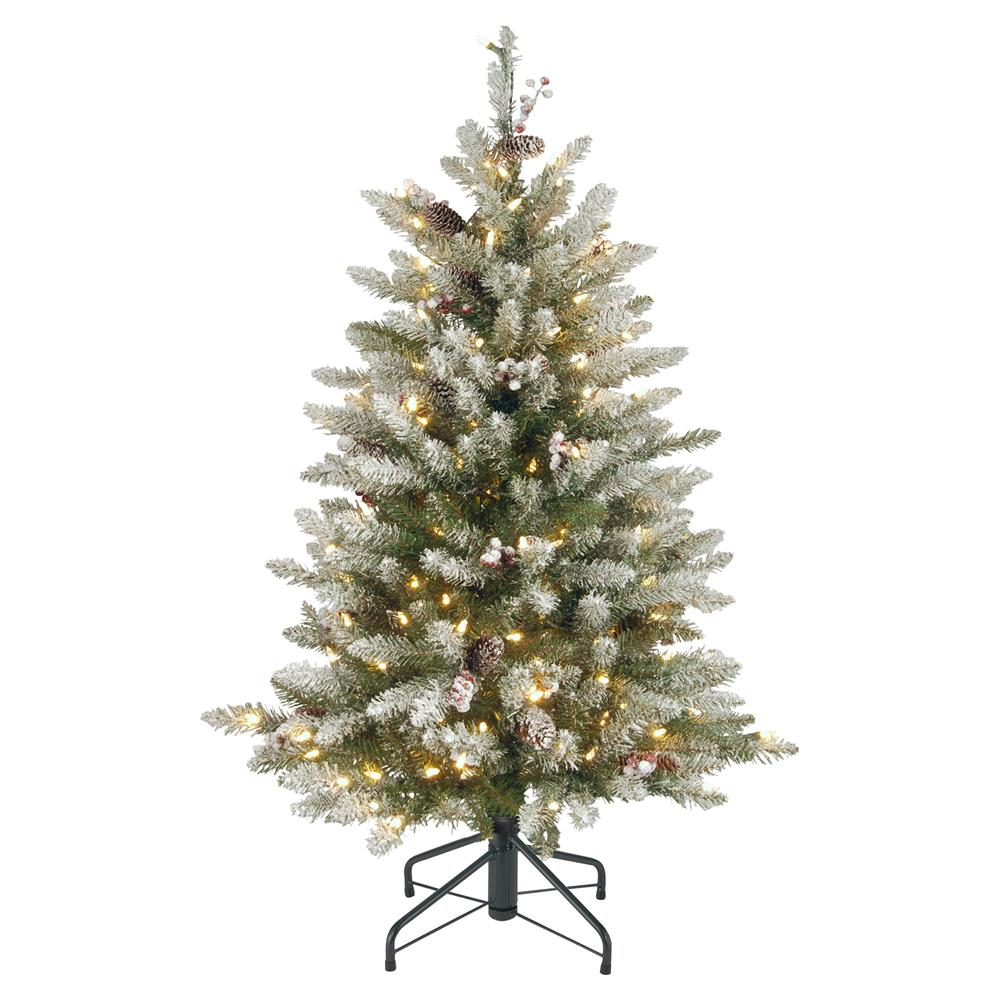 jacob 45ft fir white snow christmas tree with clear lights pine cones berries kathy