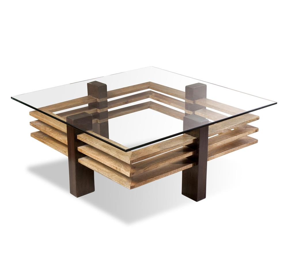Maverick modern solid chunky wood coffee table kathy kuo for Modern wooden coffee tables
