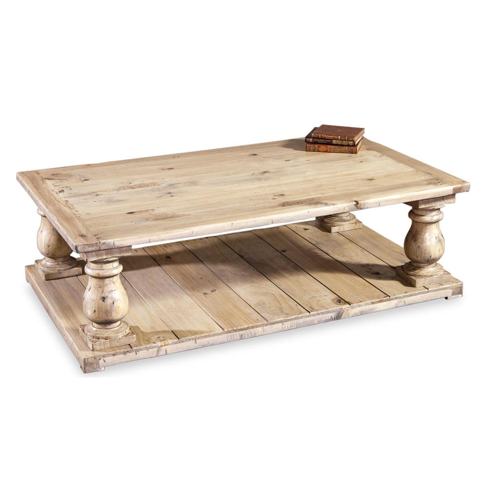Ludlum French Country Bleached Wood Coffee Table Kathy Kuo Home