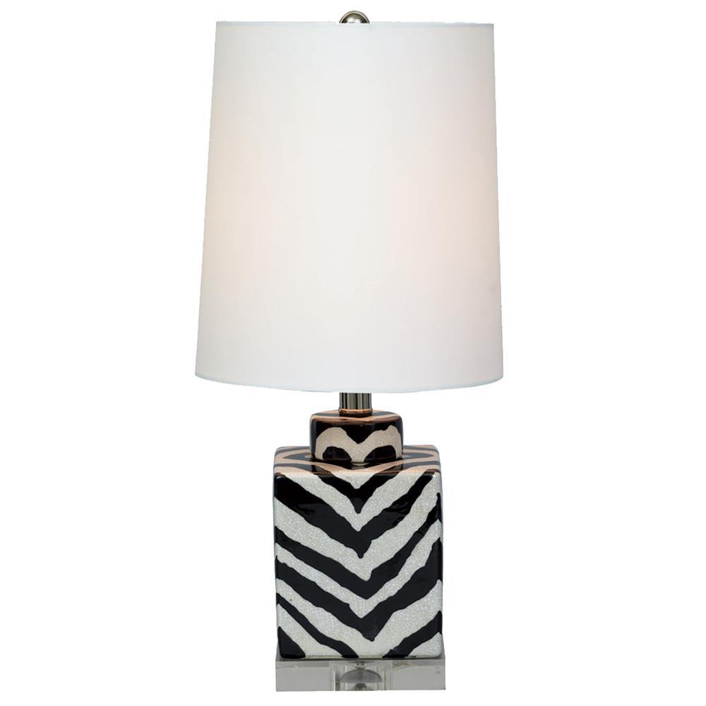 Zebra Floor Lamps : Kenya modern black and white zebra print tea jar table lamp inch kathy kuo home