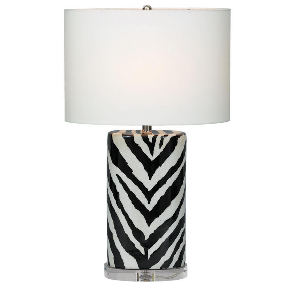 kenya modern black and white zebra print tea jar table lamp 28 inch. Black Bedroom Furniture Sets. Home Design Ideas
