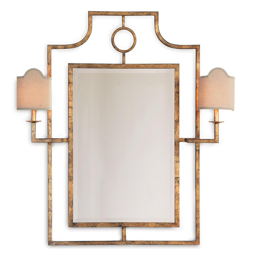 Doheny Hollywood Regency Bamboo Gold Leaf Mirror With Sconces Kathy Kuo Home