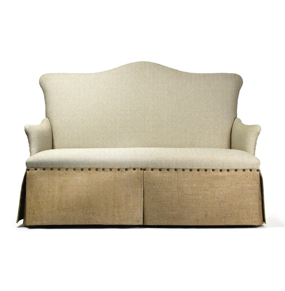 french country jute linen skirted dining settee banquette