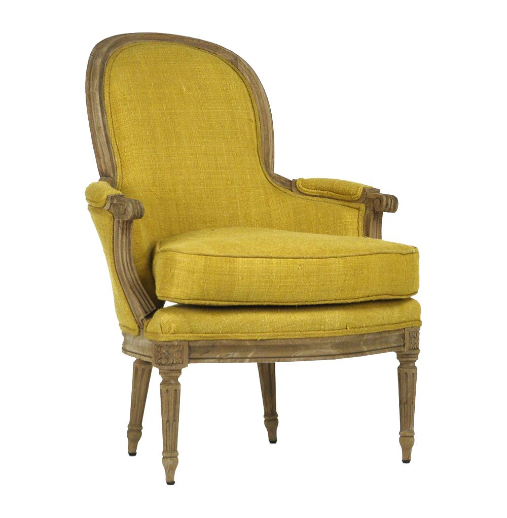 Emeze french country saffron yellow carved wood bergere