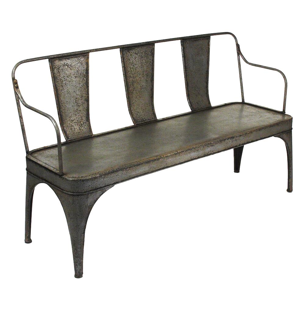 French Vintage Reproduction Art Deco Metal Cafe Bench Kathy Kuo Home