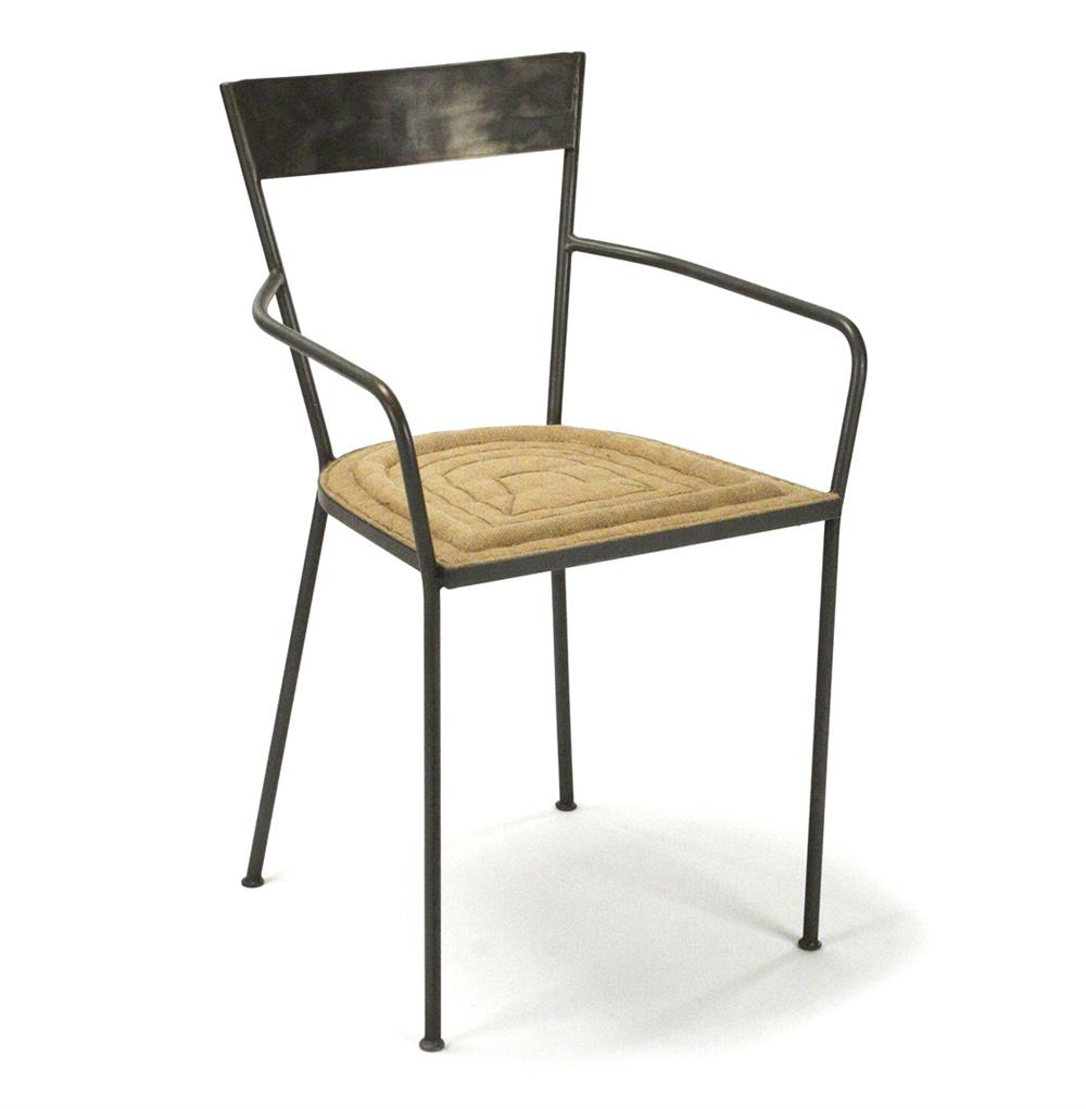 Klaas Industrial Modern Raw Steel Burlap Seat Dining Arm
