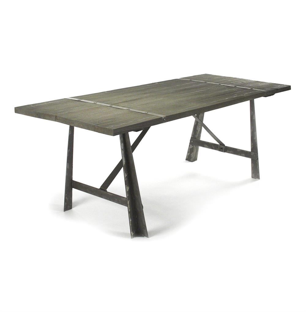 Chelsea burnished steel modern industrial limed oak dining for Modern oak dining table
