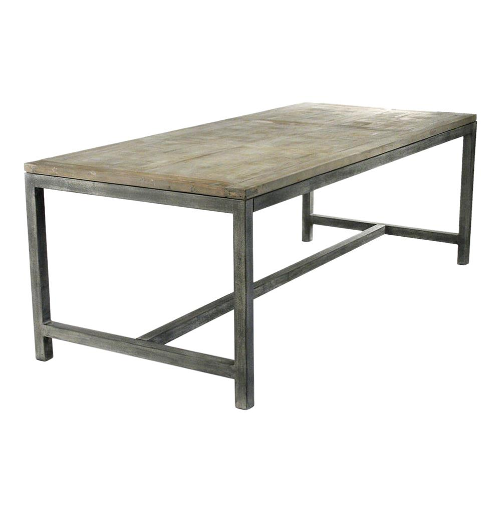 Abner industrial modern rustic bleached oak grey dining for Modern dining table