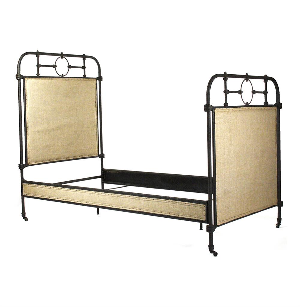 Alaric Burlap Antique Iron Industrial Rustic Twin Bed