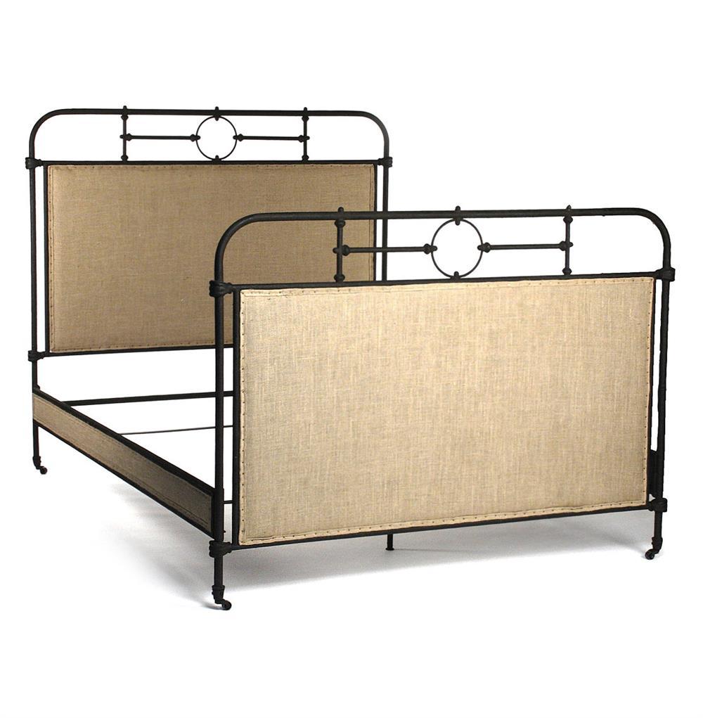 Alaric Burlap Antique Iron Industrial Rustic Queen Bed