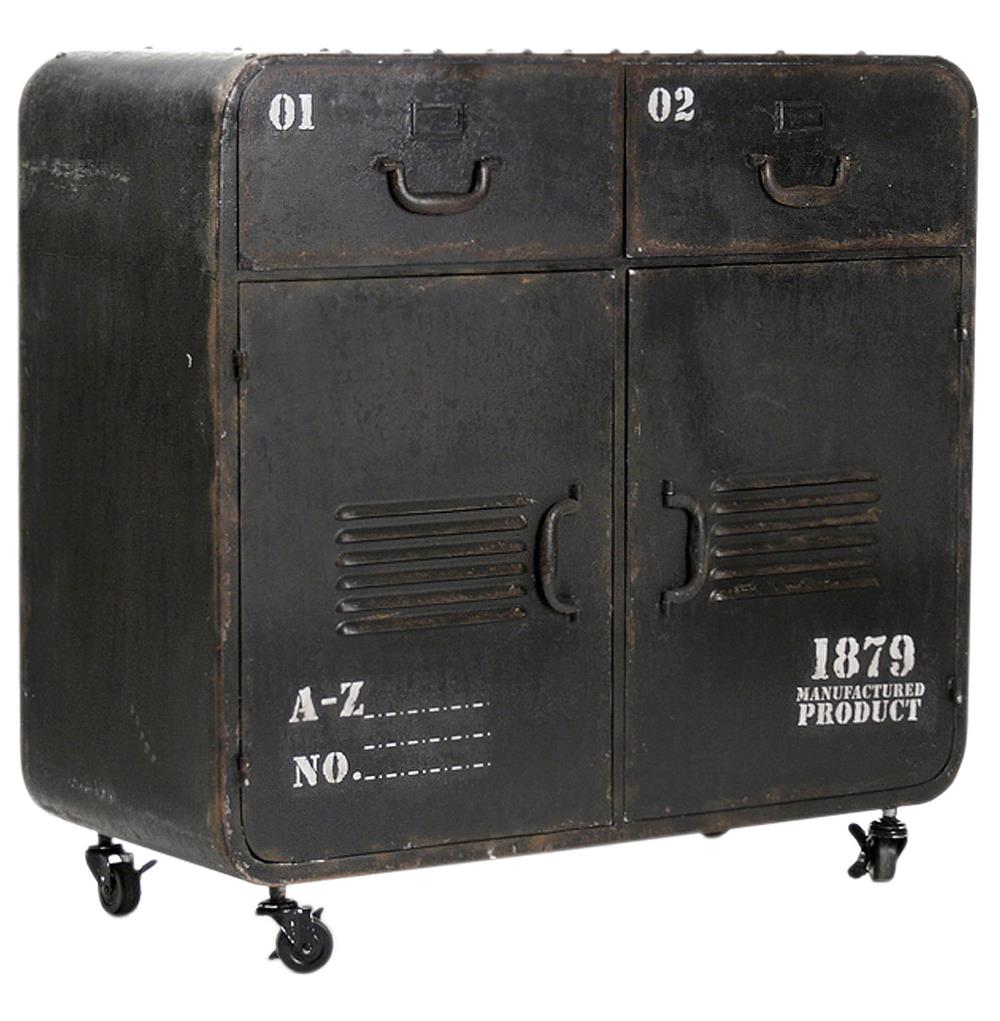 Industrial Loft Military Style Old Iron Rolling Cabinet Locker ...