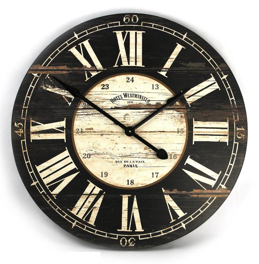 Hotel Westminster Rustic Cottage Black White Large Wall Clock