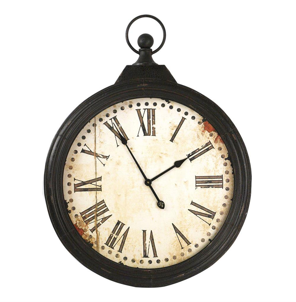 Rustic iron large pocket watch wall clock kathy kuo home amipublicfo Choice Image