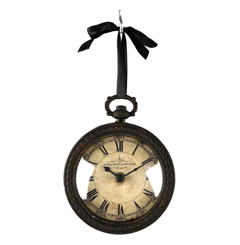 Pocket Watch Style Vintage French Rustic Ribbon Round Wall Clock Kathy Kuo Home