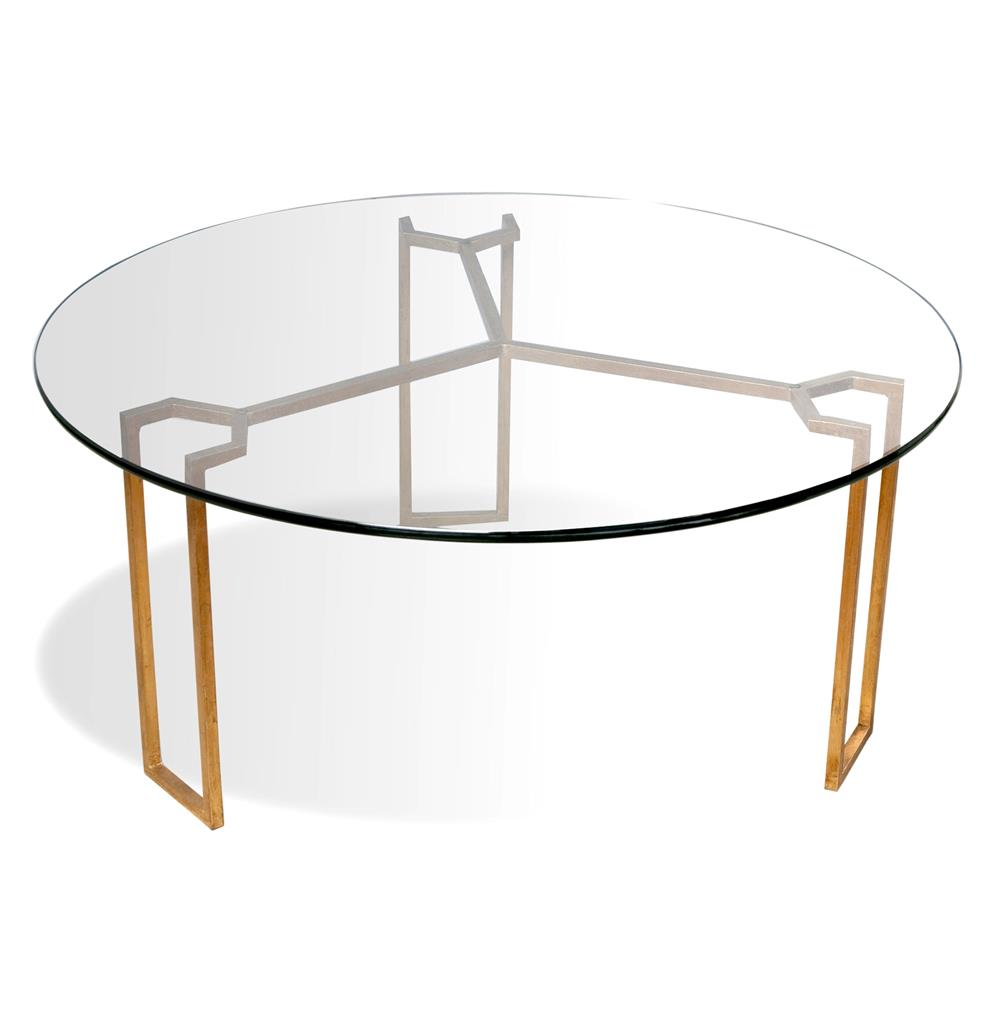 Triad modern geometric gold leaf round coffee table kathy kuo home