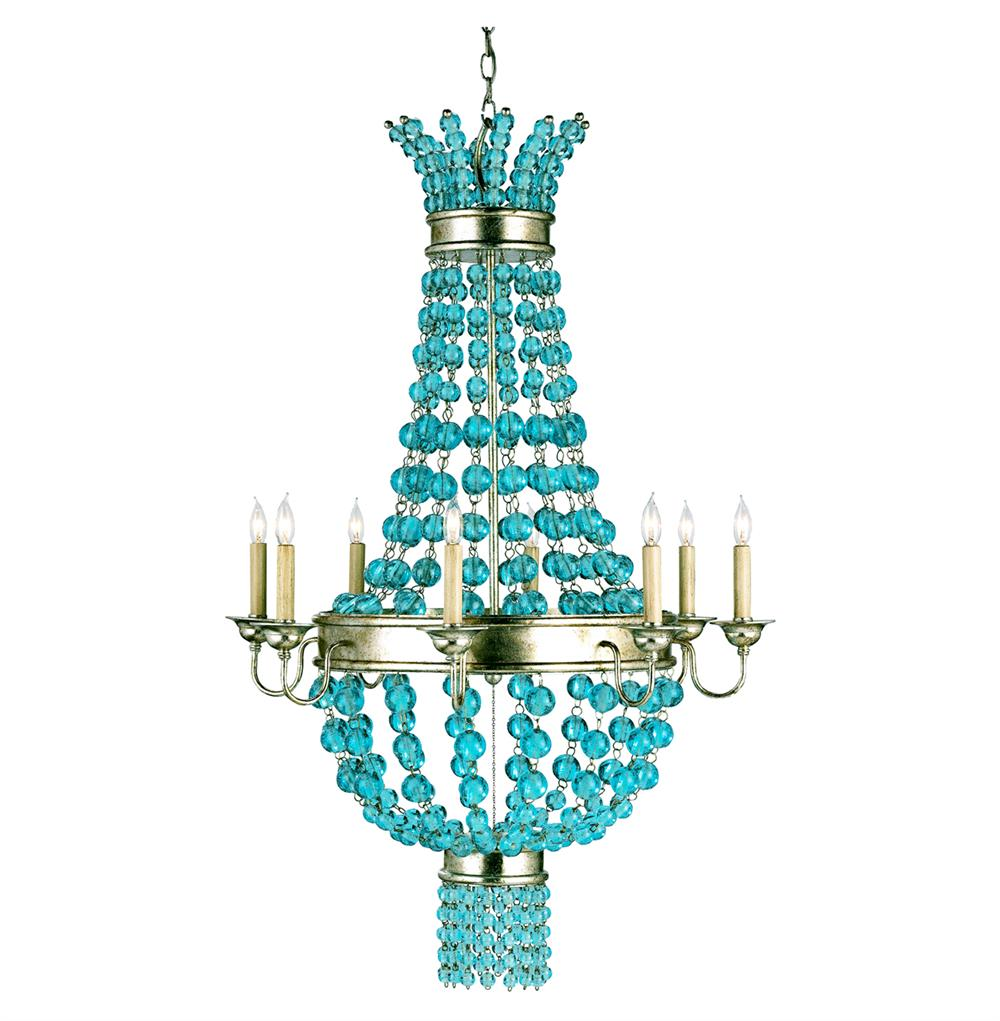 Lea aqua blue glass balls contemporary 8 light chandelier kathy kuo home - Can light chandelier ...