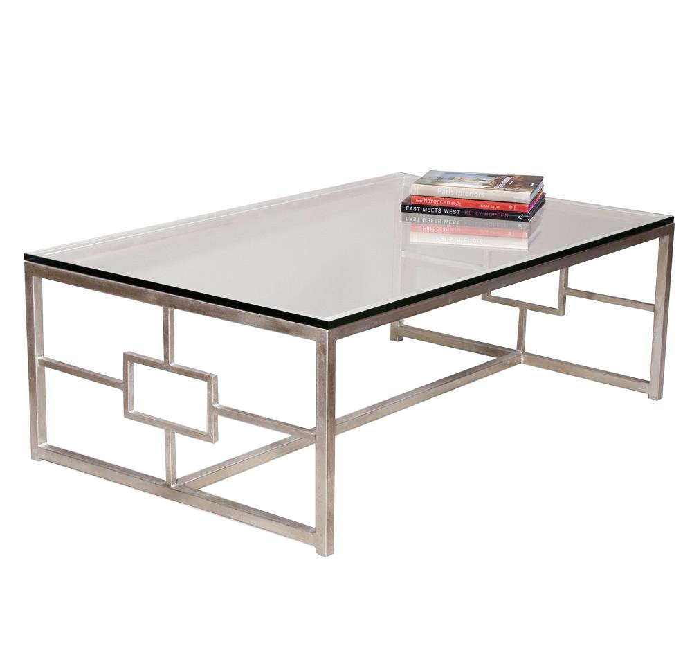 Contemporary Glass Rectangle Coffee Table: Interlude Vetra Contemporary Antique Silver Leaf Glass