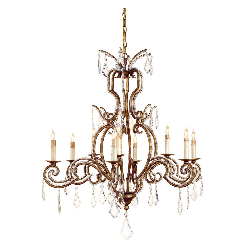 classic crystal antique gold 9 light chandelier kathy kuo home. Black Bedroom Furniture Sets. Home Design Ideas