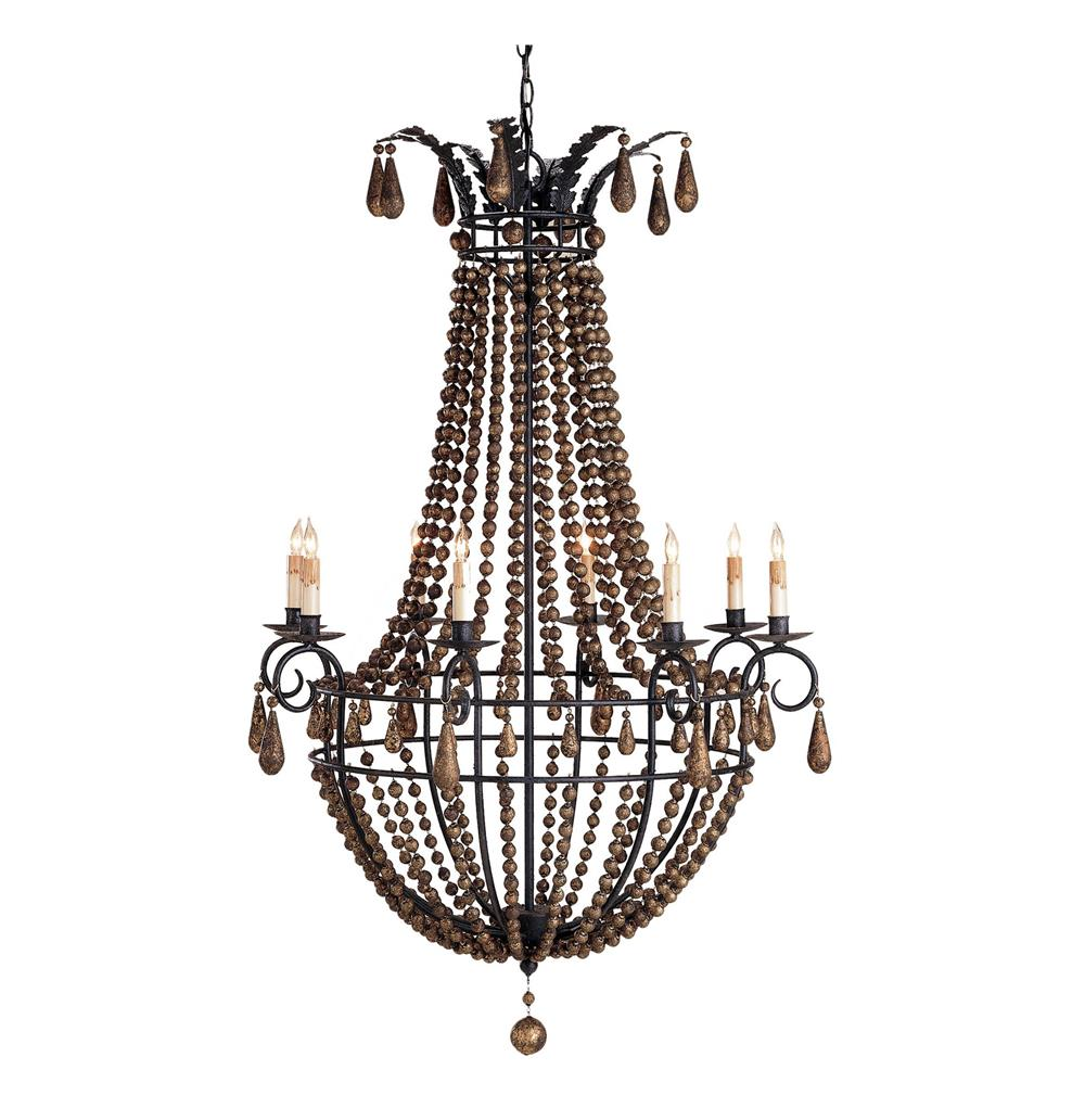 Europa Wooden Beaded Swag 8 Light Chandelier Kathy Kuo Home
