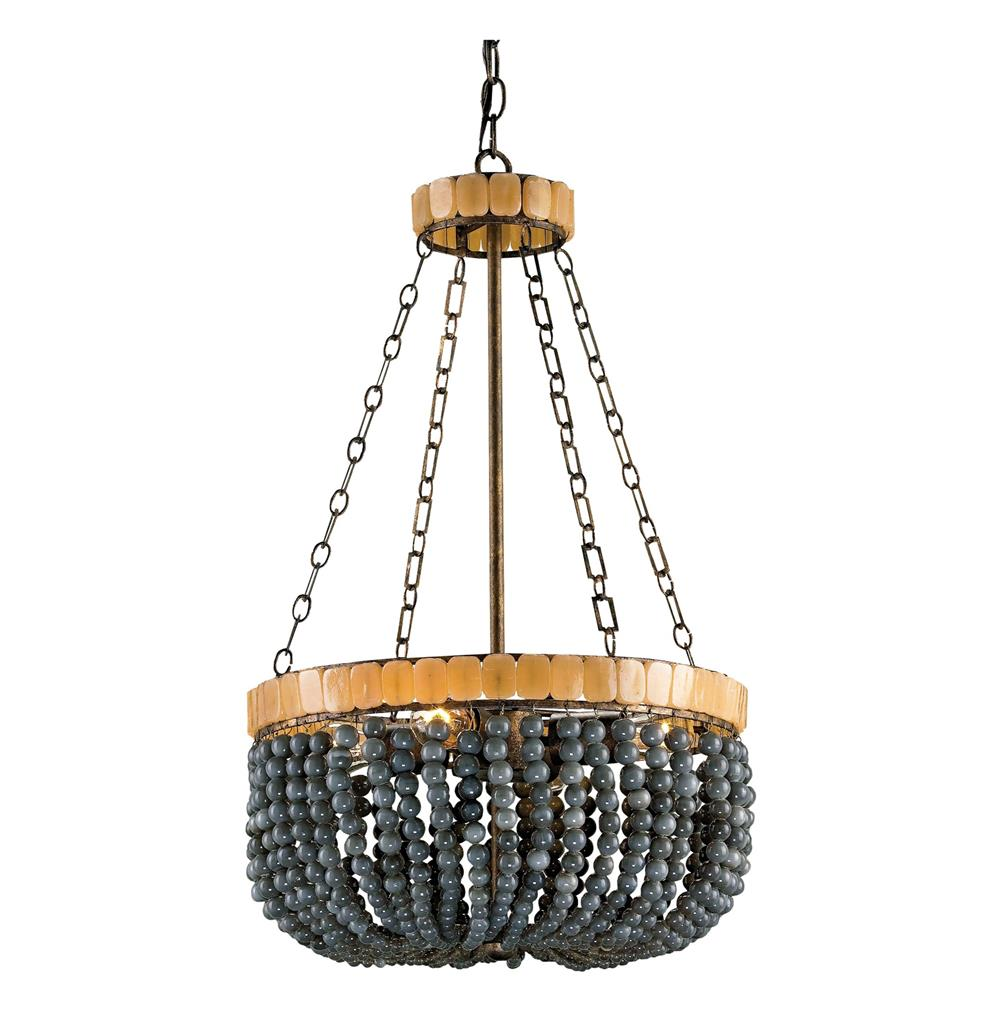 Laila gray beaded glass 4 light basket chandelier kathy kuo home - Chandelier glass beads ...