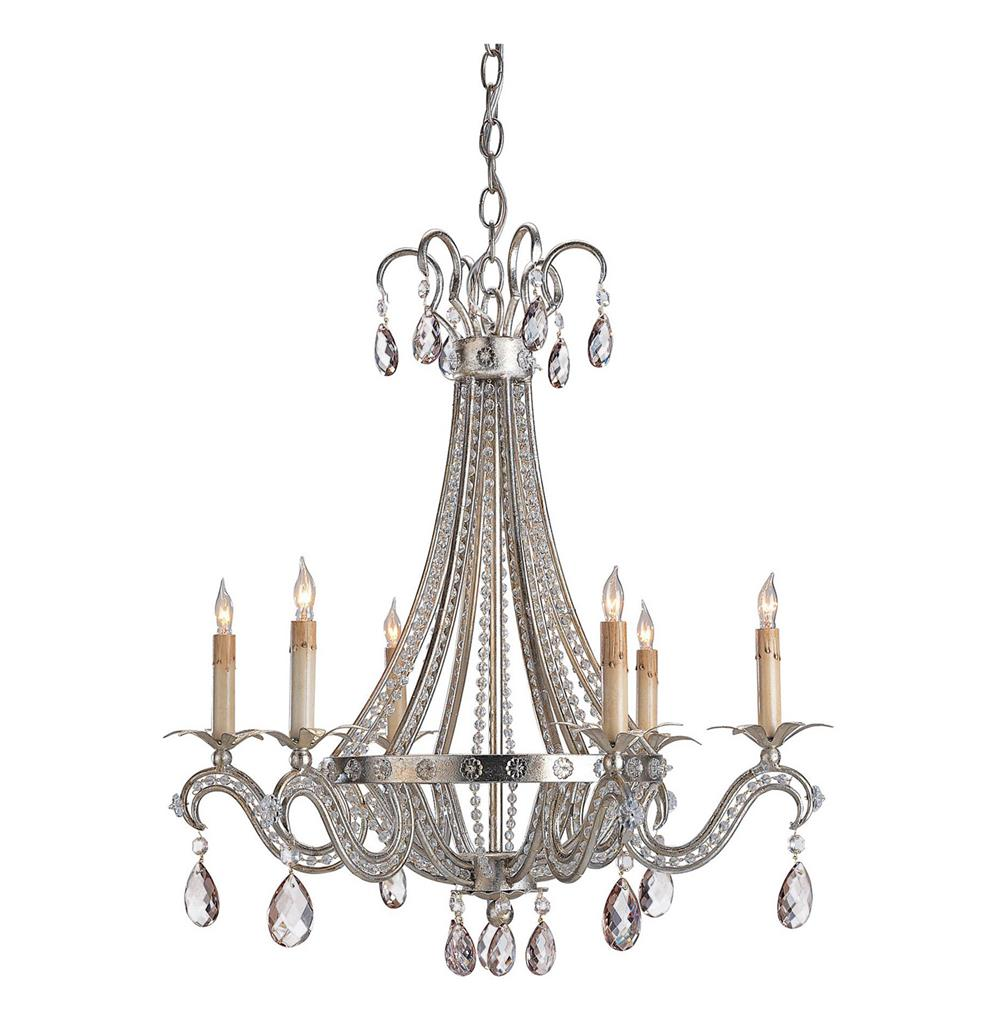 Iron Leaf Wide Light Bronze and Crystal Chandelier - 44422