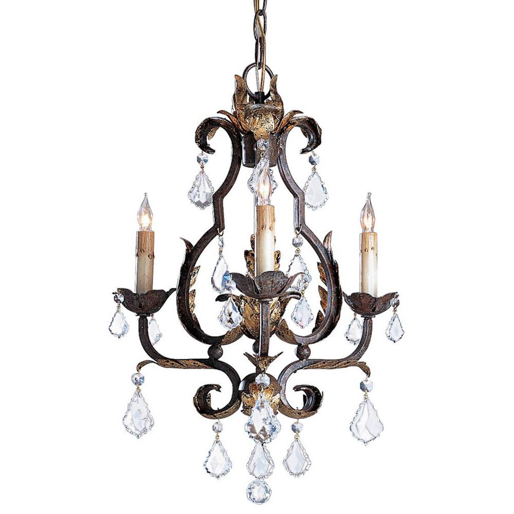 Tuscan elegant swarovski crystal 3 light chandelier kathy kuo home - Lighting and chandeliers ...