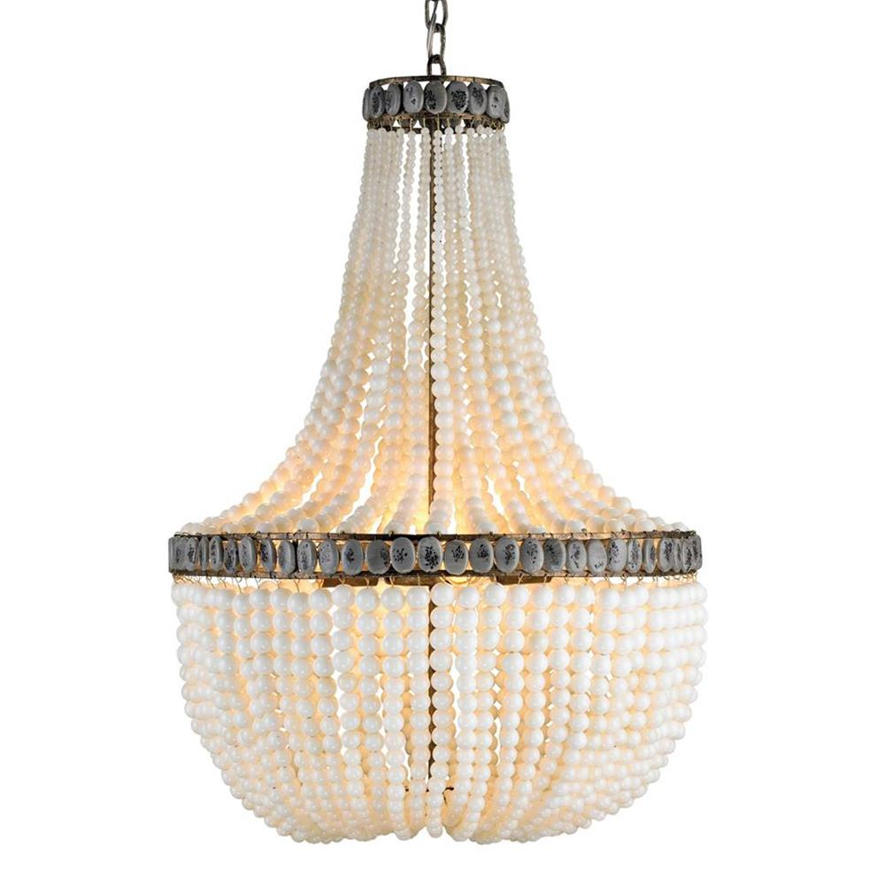 Cream beaded coastal beach 3 light chandelier kathy kuo home - Chandelier glass beads ...