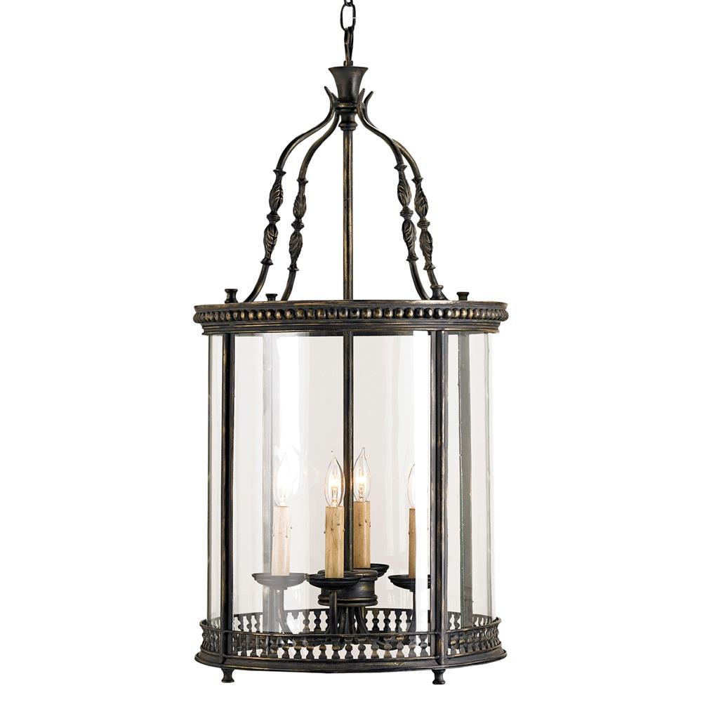 Gardner vintage glass panels french black 4 light lantern for Lights company