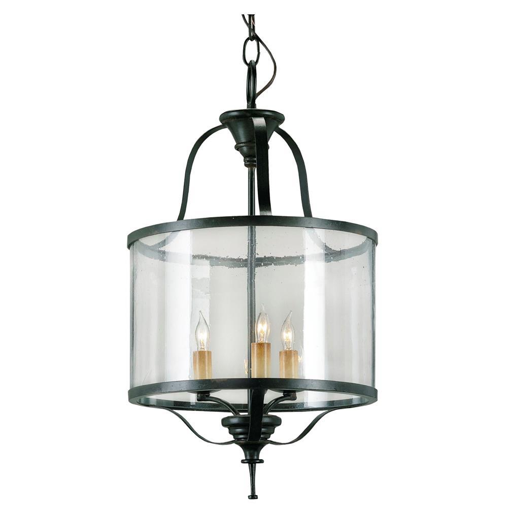 Marta Elegant Old Iron Curved Glass 3 Light Lantern