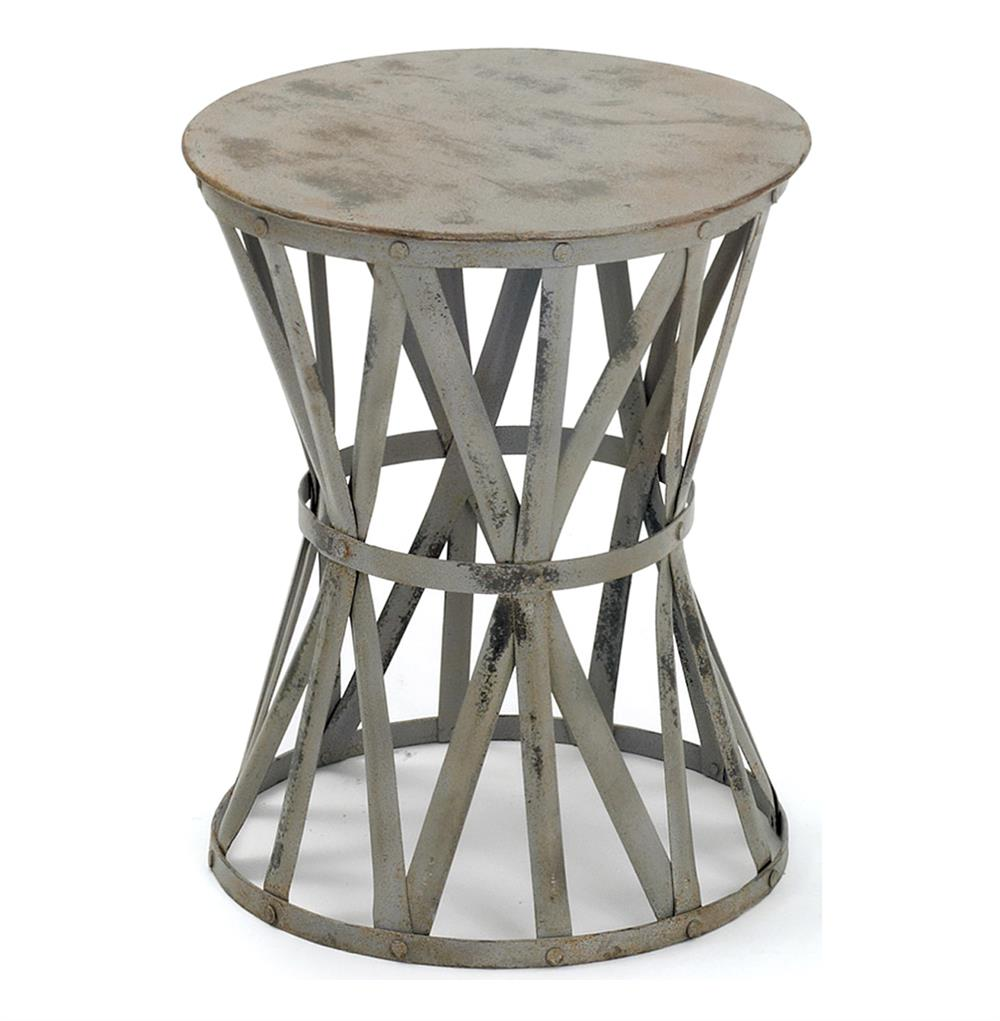 Romy hand painted distressed gray industrial iron drum for Drum side table
