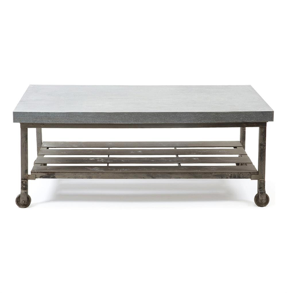 Steeltown industrial loft galvanized steel coffee table kathy kuo home Industrial metal coffee table
