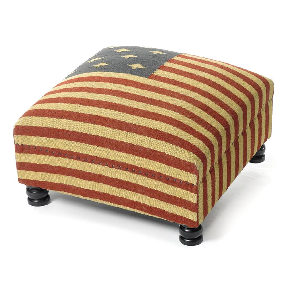 patriotic rustic kilim american flag coffee table ottoman | kathy