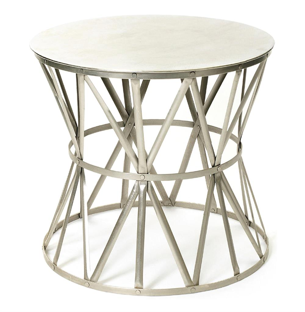 Large steel top drum angle metal open accent side table for Drum side table