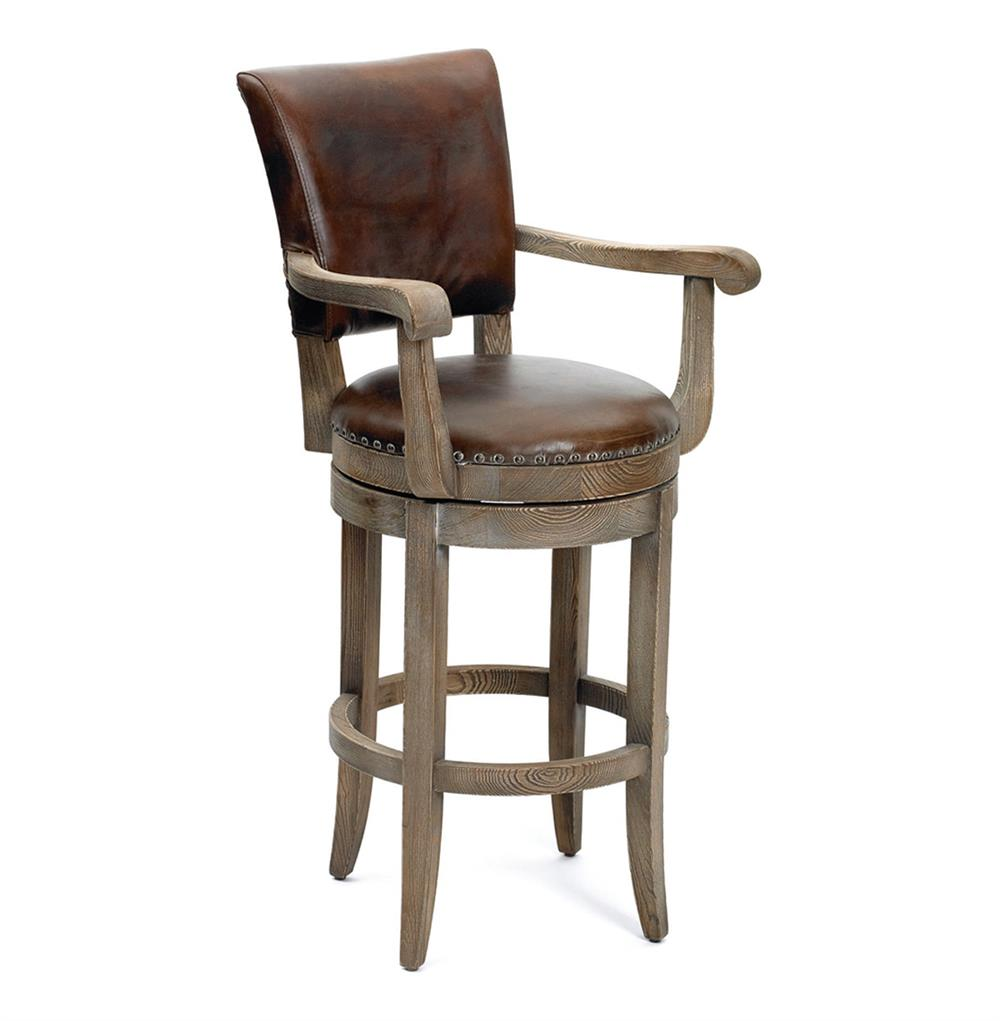 Modern rustic lodge top grain leather bar stool kathy kuo home