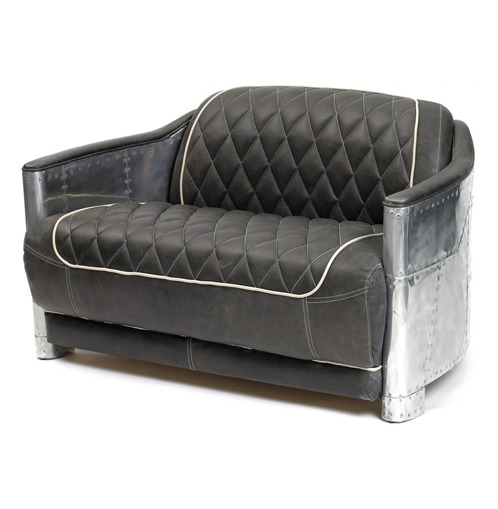 Hipster Riveted Metal Aviator Tufted Leather Sofa Chair