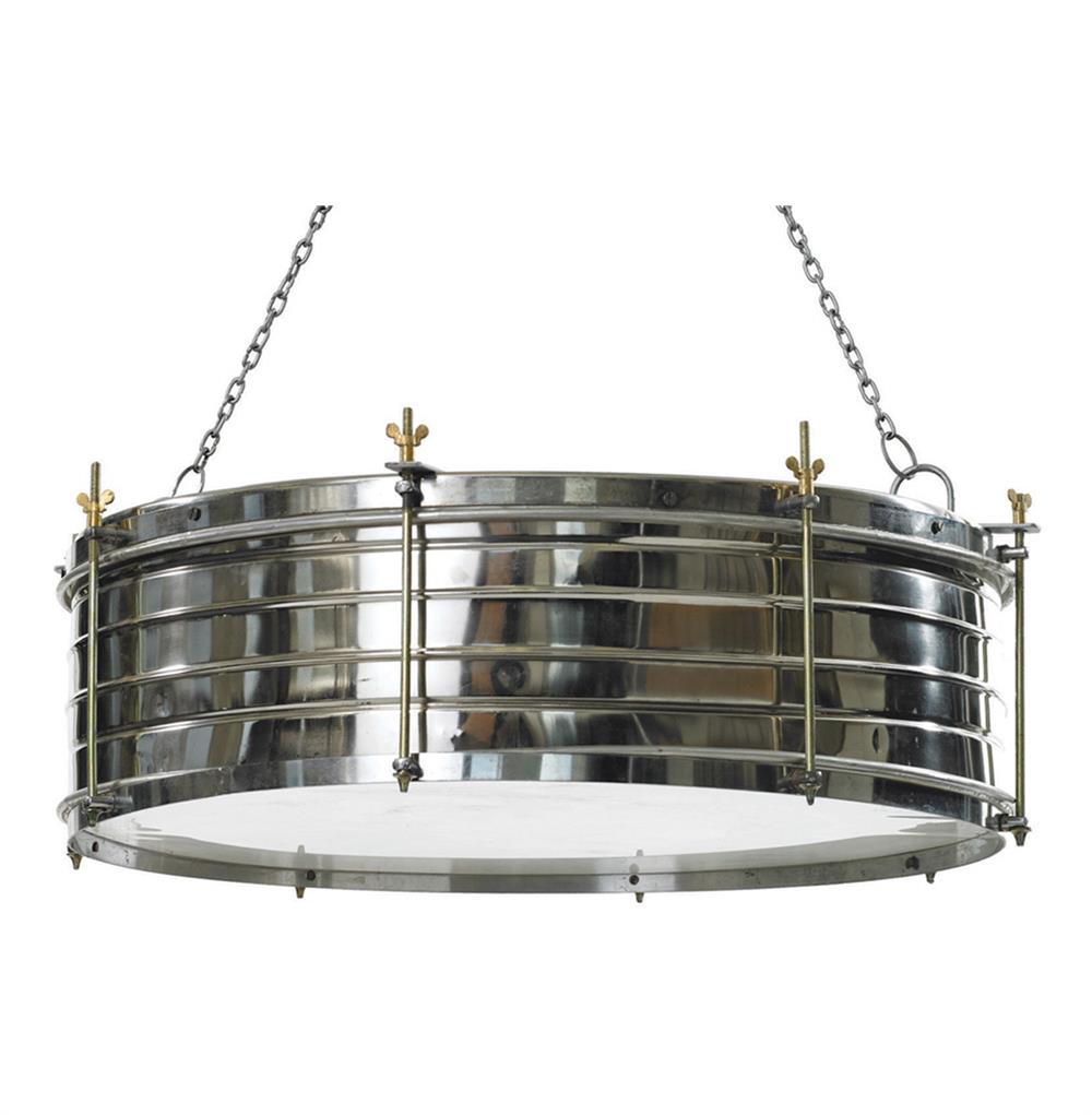 Boston Industrial Steel Adjustable Height Drum Pendant Lamp
