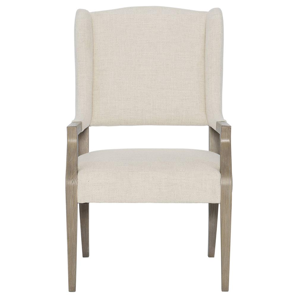 Sarabeth Modern French Beige Upholstered Wood Dining Arm Chair