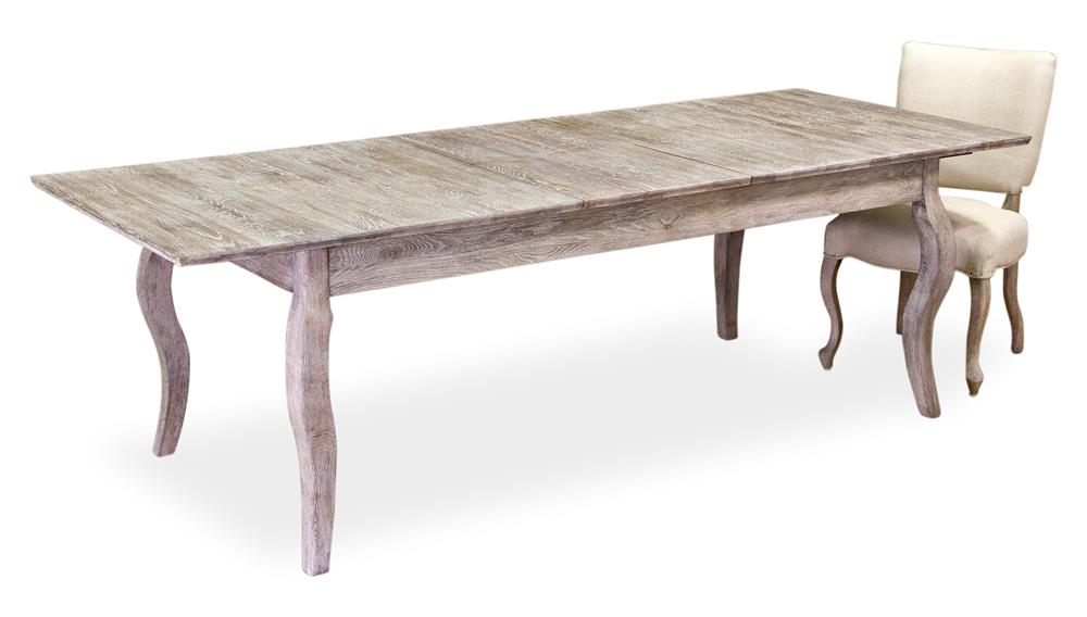 Voltaire White Wash Solid Oak Dining Table With Leaves Kathy Kuo