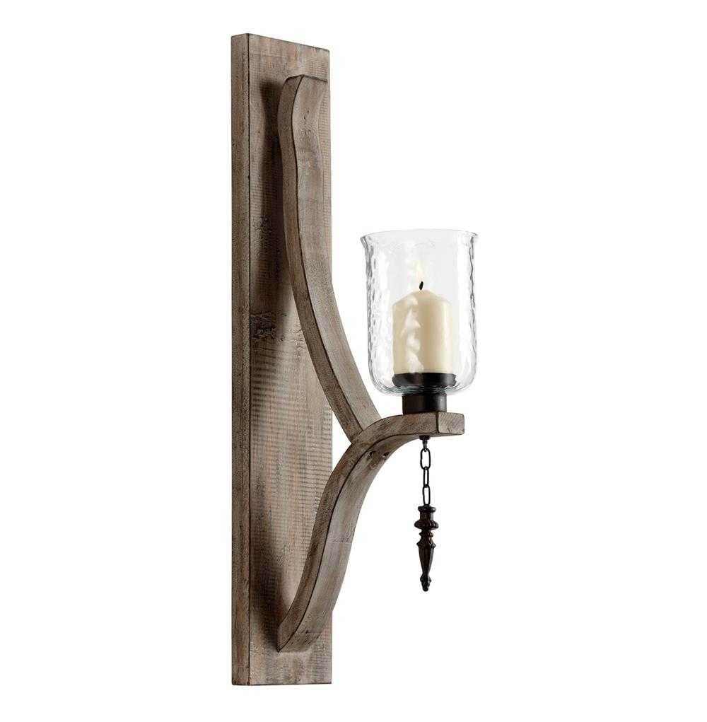 Rustic Candle Wall Lights : Giorno Country Rustic Chunky Wood Candle Sconce Kathy Kuo Home