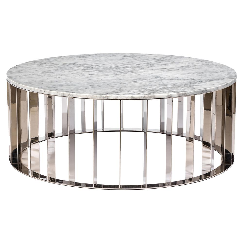 Interlude Greer Modern White Marble Stainless Steel Round Coffee