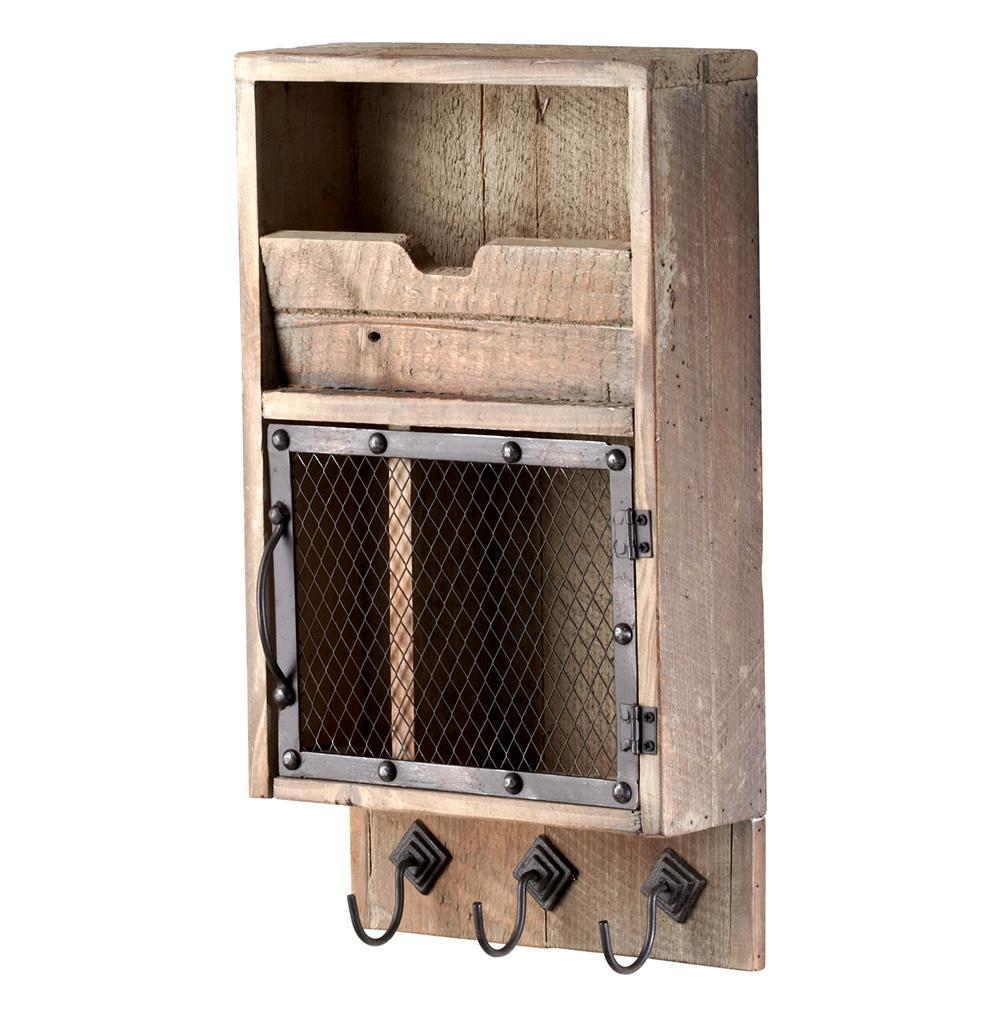 Casey Industrial Reclaimed Wood Farmhouse Wall Storage Organizer | Kathy  Kuo Home