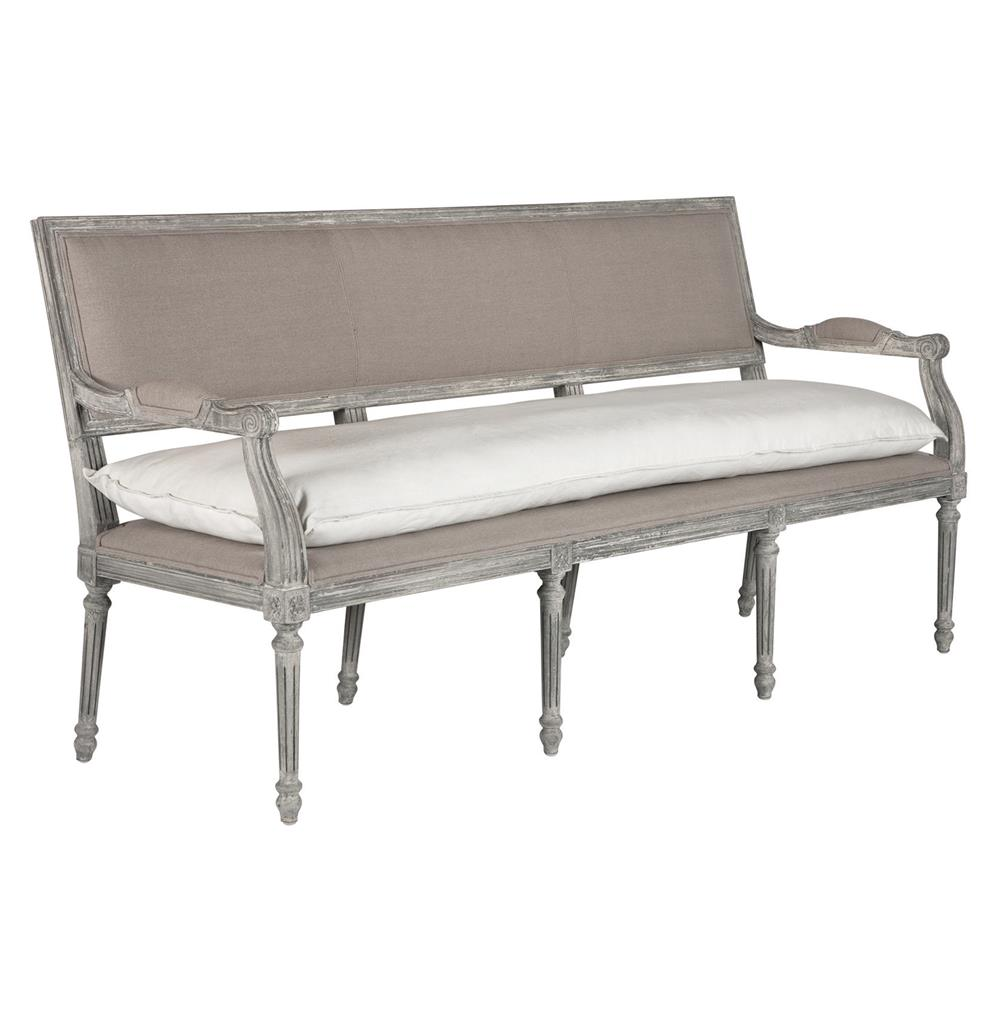 Liam French Country Stone Grey Linen Entryway Long Bench Kathy Kuo Home